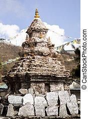 himalayas, boeddhisme, vlaggen, stupa, gebed, chorten, of