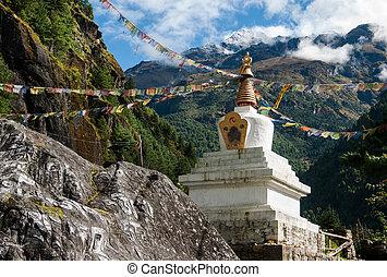 himalayas, boeddhist, stupe, vlaggen, gebed, chorten, of