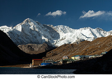 Himalayas. Gokyo Ri, Mountains of Nepal, snow covered high peaks and lake not far from Everest.