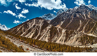 Himalayas mountain landscape. Panoramic view of Himalaya peaks. Gangotri glacier Gaumukh, India.