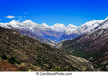 Himalayas mountain valley view with white mountain peaks