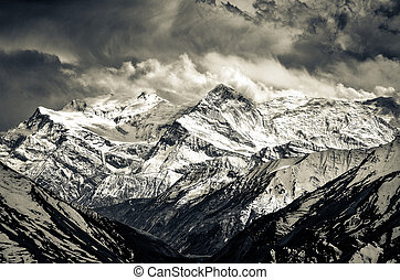 Himalayas mountains mochrome scenic view with dramatic sky