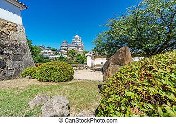 Himeji castle and garden - Himeji castle over hill...