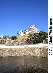 Himeji castle and moat in Himeji, Hyogo, Japan