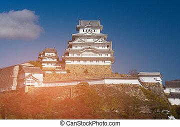 Himeji castle Japanese historic landmark with blue sky...