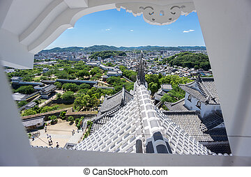 Himeji city from castle window - Wide angle view of Himeji ...