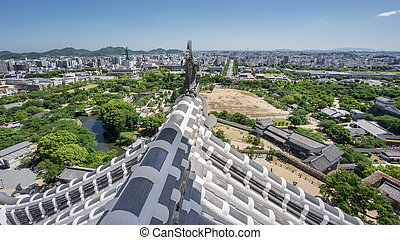 Himeji city from castle with roof