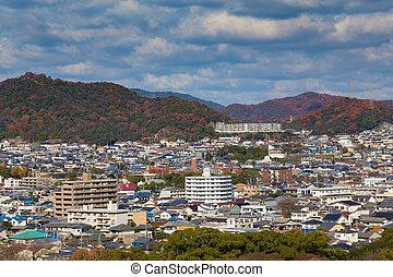 himeji, residência, centro cidade, vista aérea