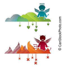 himmel, ängel, &, fan, -, illustration, vektor, begreppen, helvete