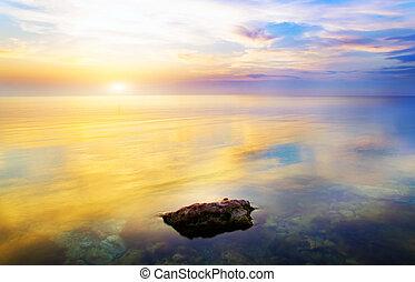 himmel, baggrund, og, vand, reflektion.