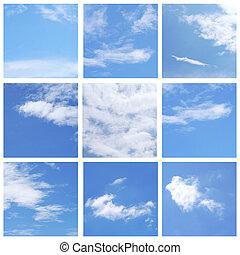 himmel blau, sammlung, satz