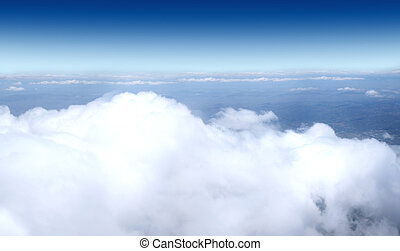 himmel, flyvemaskine, -, skud, samling
