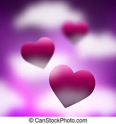 himmel, hintergrund, mittel, valentinestag, und, hintergrund