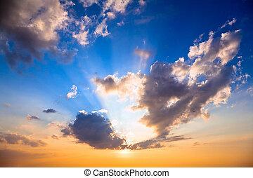 himmel, hos, solnedgang