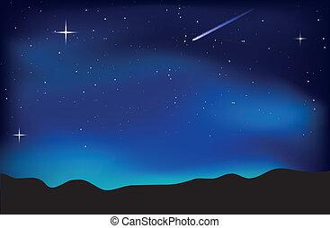 himmel, landskab, nat
