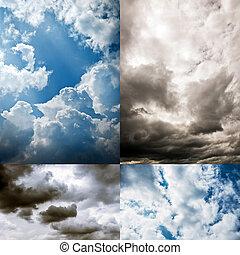himmel, samling, grumset