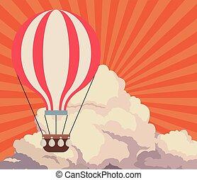 himmel, solnedgang, skyer, airballoon, rejse, retro, baggrund