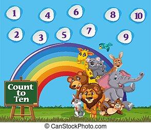 himmel, ti, æn, antal, farverig, blå baggrund, regnbue