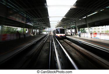 himmel, tog, ind, bangkok