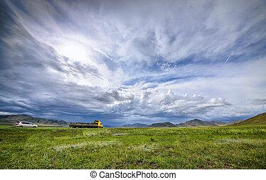 himmelsgewölbe, dunstig, landschaftsbild