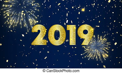 himmelsgewölbe, firework, 2019, jahr, neu , anmimation, karte