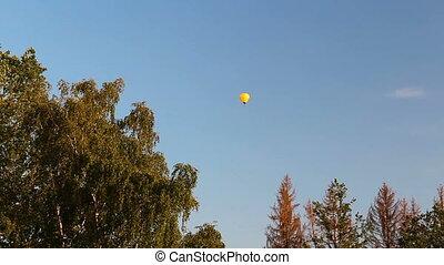 himmelsgewölbe, heißluft, fliegen, bäume, ballon, blaues