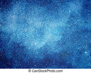 himmelsgewölbe, hintergrund., nacht, aquarell, sternen