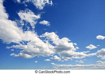 himmelsgewölbe, in, blaues, mit, wolkenhimmel, tageszeit
