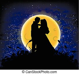 himmelsgewölbe, liebe, lunar, nacht