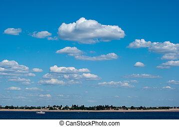 himmelsgewölbe, mit, wolkenhimmel, ander, der, fluß