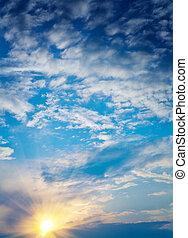himmelsgewölbe, sonnenuntergang, bewölkt