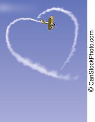 Himmelsschreiber - Flugzeug malt ein Herz an den Himmel