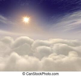 himmlisch, sonne, steigend, wolkenhimmel, unter