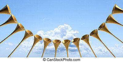 himmlisch, trompete, kreis, himmelsgewölbe, mittelalterlich