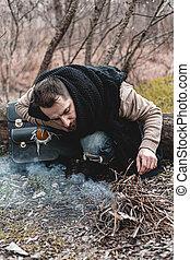 himself., 小さい, 写真, 暖まること, 株, 人, 自然, 火, モデル