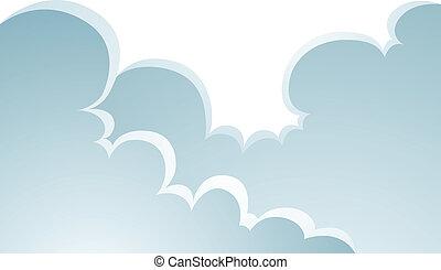 hinchado, nubes, caricatura