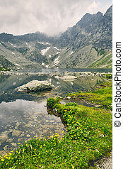 Hincovo pleso. Pure lake with a rocky bottom on the background of the mountains of the High Tatras