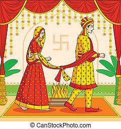 hindú, boda, novio, indio, novia
