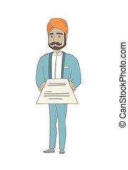 hindú, contract., tenencia, hombre de negocios