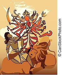 hindú, durga, diosa