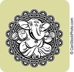 hindú, ganesha, señor, ilustración, creativo