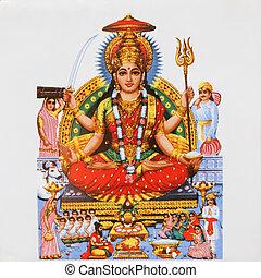 hindú, imagen, parvati, diosa