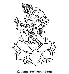 hindú, krishna., dios
