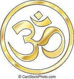 hindú, om, vector, oro