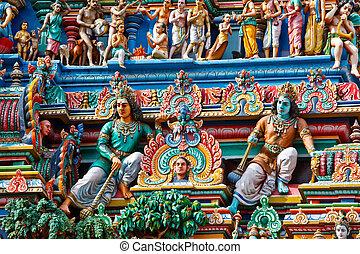 hindú, (tower), templo, gopuram