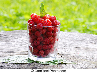 hindbær, ind, en, glas