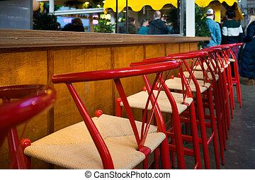 hinder, öppning, barstol, röd, tom, för