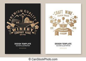 hinder, företag, business., vintillverkare, glasögon, mall, ...