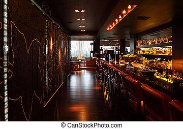 hinder, hyllor, stol, disk, komfortabel, röd, lott, restaurant;, lång, tom, drycken