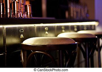 hinder, restaurang, stol, disk, hög, ett slags tvåsittssoffa